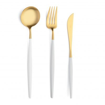 Cutipol-Goa-wit goud White-Gold-serveer bestekset serveermes serveervork serveerlepel