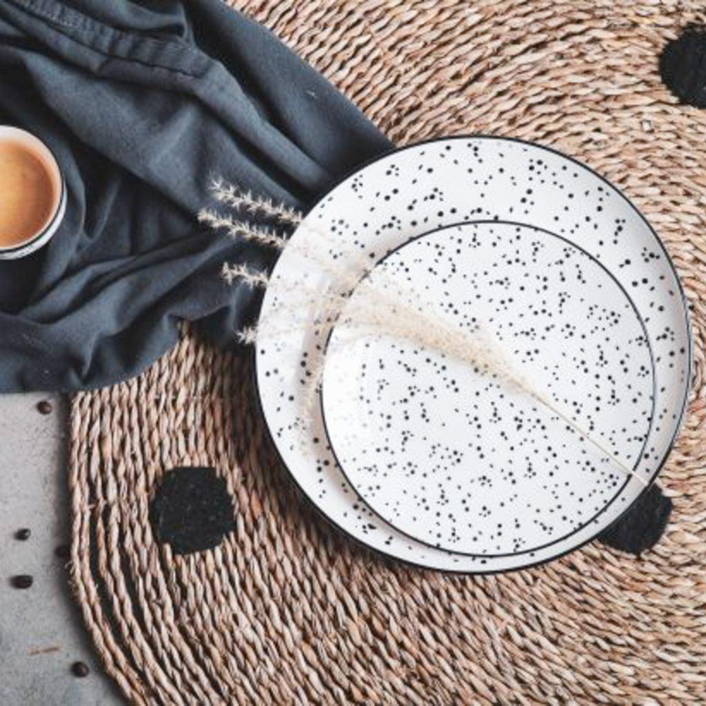 Dinerbord - Wit Zwarte stippen // Housevitamin